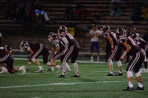 The Ada Cougars line up to defend against Bristow. Pictured: Vaughn Appleman (8), Reed Townsend (28), Grant Bellard (10), Christian Maloy (2), Jackson McFarlane (7) and Kylen Cooper (4).