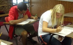 AHS students taking a practice ACT test.