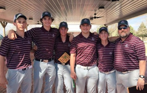 AHS boy's golf team following their 3rd place victory at the Jimmie Austin tournament.