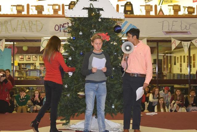 Kishan Bhula and Tanner Stone announce student representatives.