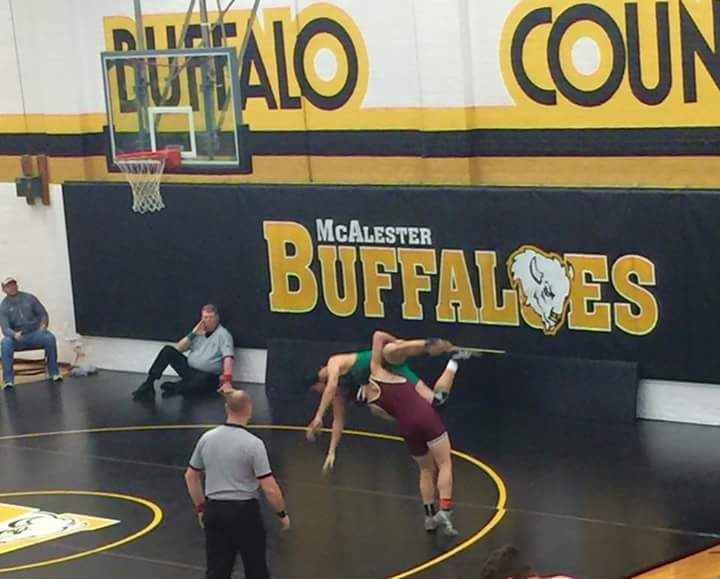 Izaack Powell with his first win of the day at the McAlester wrestling tournament.