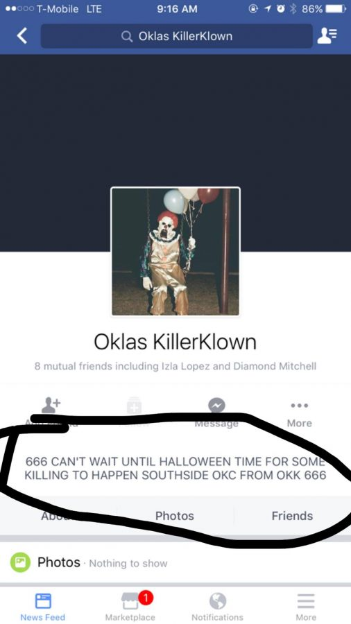The+Facebook+page+of+the+clown+that+made+the+threat+to+south+side+OKC+on+halloween.