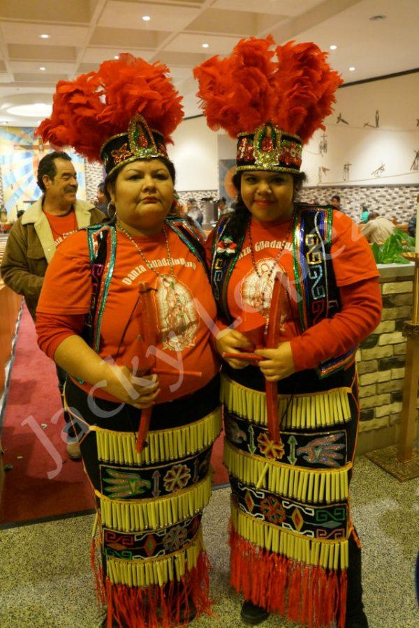 Gaby Valles  and her daughter Michelle Valles showing off their traditional dance uniform