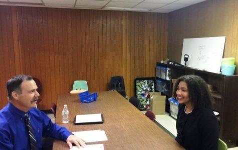AHS junior, Maleigha Cowart, participates in a mock job interview.