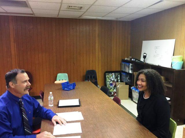AHS+junior%2C+Maleigha+Cowart%2C+participates+in+a+mock+job+interview.