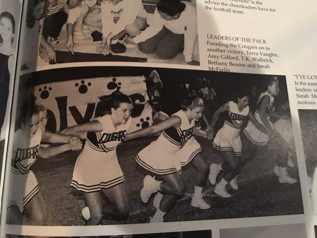 TK Fuller (middle, forward) appears in a yearbook performing with her team when she was a cheerleader at Ada High School.
