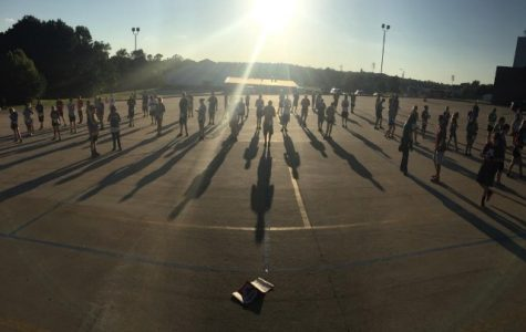 Ada High band sets drill for the second movement of their performance.