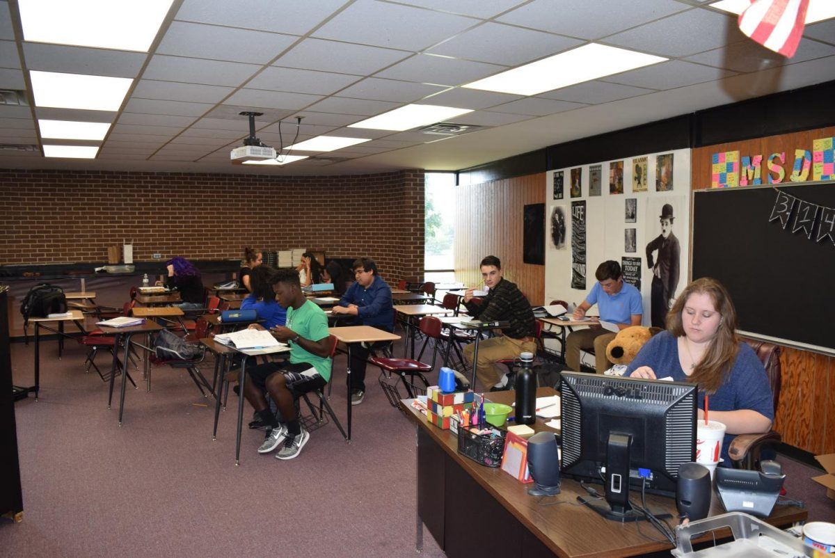Completing missing assignments is one of the things students work on during Ada High math teacher Stephanie Duncan's enrichment class. Duncan had one of the largest enrichment classes during the first weeks of the new program.