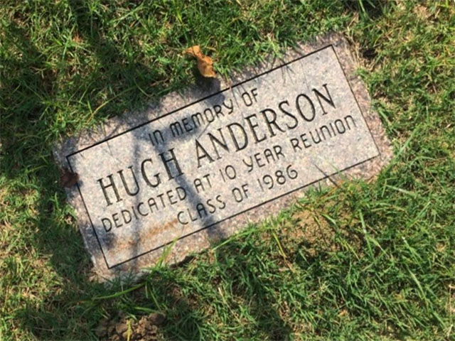 The Class of 1986 gathered during their ten year reunion to honor classmate Hugh Anderson. Anderson's memorial was dedicated during the ceremony.