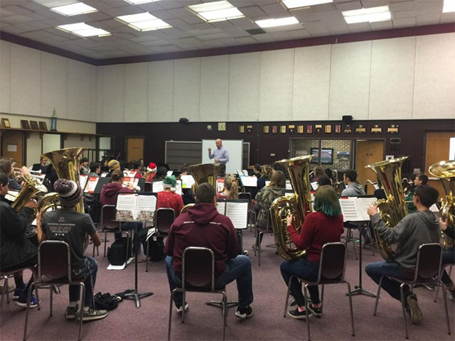 Ada band getting ready for the Christmas Concert!
