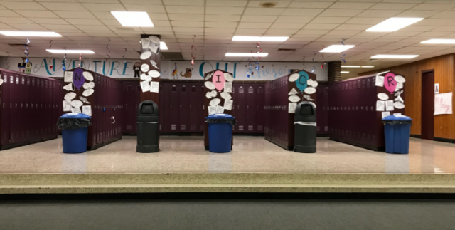 Recycling buckets located by the Senior Lockers