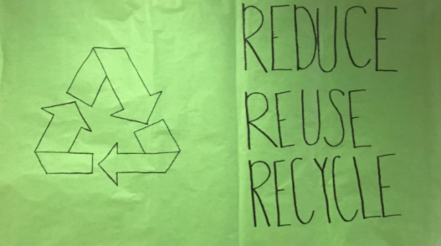 Posters of recycling made by leadership students
