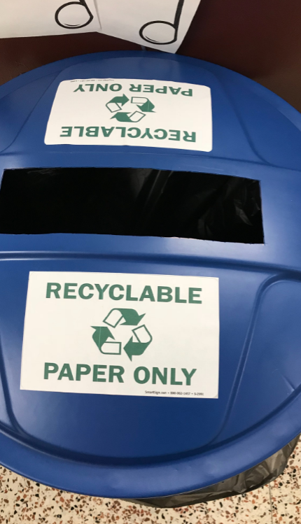 Recycling buckets for paper products only
