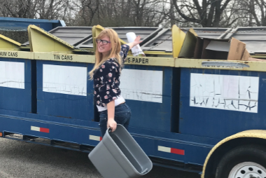 Danielle Noe recycling posters from teachers recycling tubs