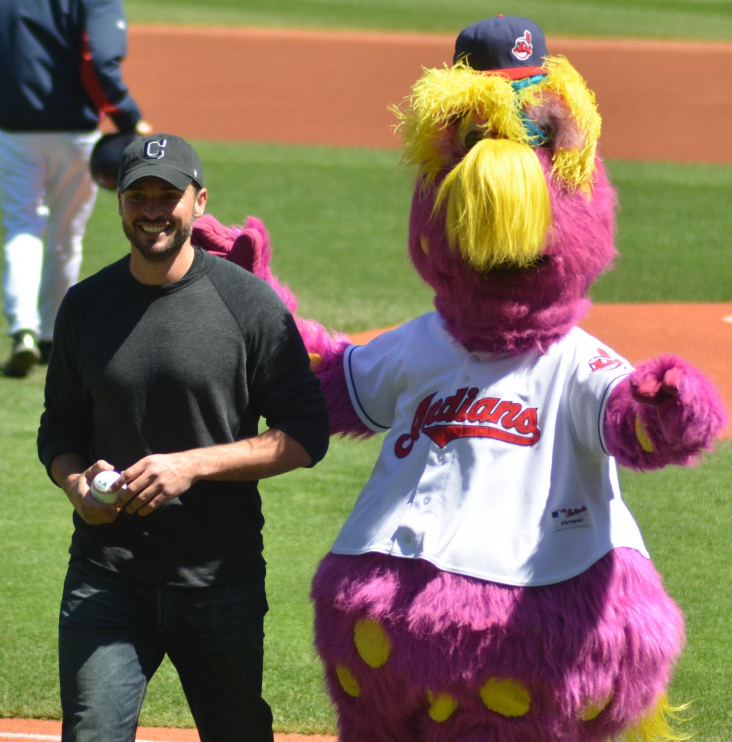 The Cleveland Indians mascot Slider Mae dons the Cleveland hat with the soon to be removed logo.