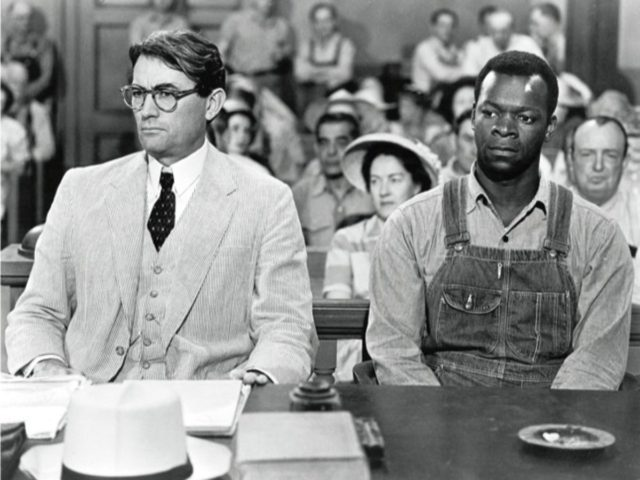 This scene from the movie adaptation of Harper Lee's To Kill a Mockingbird depicts Atticus Finch defending Tom Robinson. To Kill A Mockingbird has accurately depicted