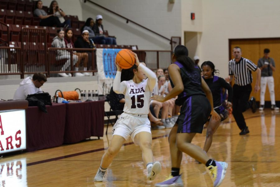 During the East Central Oklahoma Classic tournament held by The Chickasaw Nation, Junior Jaeden Ward (15) was getting ready to pass the ball. The Lady Cougars beat Northwest Classen 62-39.