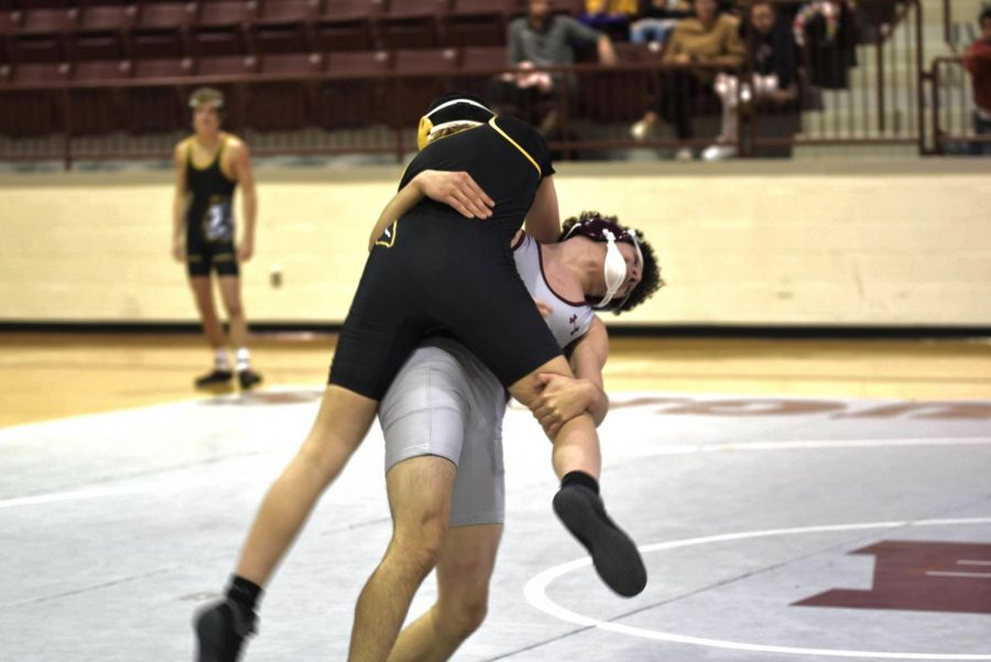 In the Cougar's duel against Tecumseh, sophomore Sayir Tamayo wrestled against Tecumseh's 120 weight class. Tamayo threw down Tecumseh's 120 and won his match.