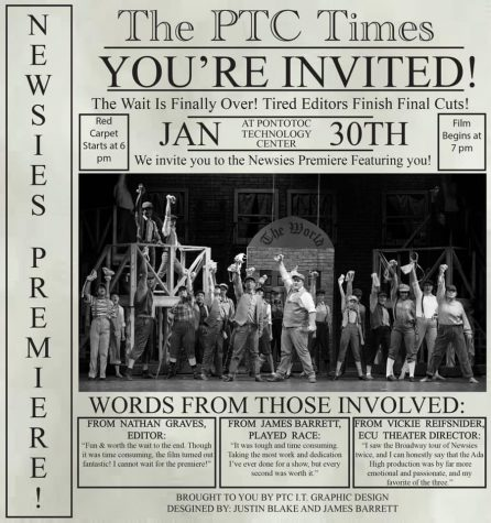 Newsies film premier invitation created by Pontotoc Technology Center Students.
